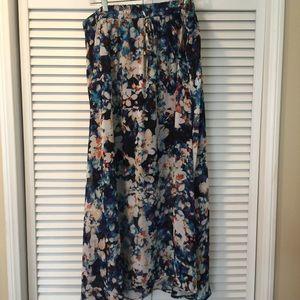 Blue floral lined skirt